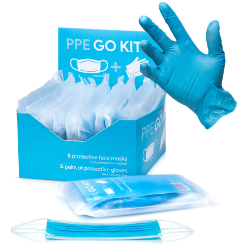 PPE Go-Kit Pack Includes 5 Face Masks & 5 Pairs of Gloves In Each Pouch