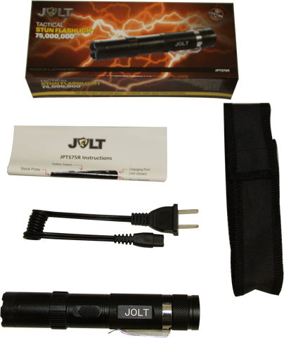JOLT Police Tactical Rechargeable Stun Gun Flashlight 75M
