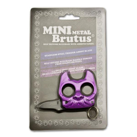 Mini Metal Brutus Bulldog Keychain Knuckle Knife Purple
