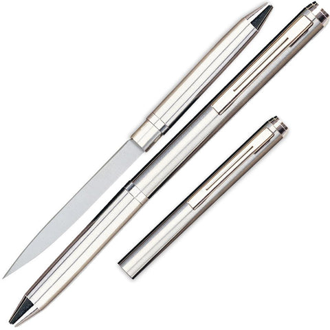 "Pen Knife with Concealed 2.13"" Steel Blade Silver"