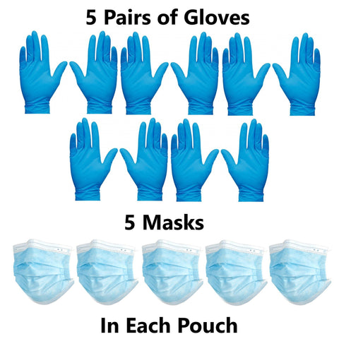 PPE Go-Kit Box Includes 50 Face Masks & 50 Pairs of Gloves
