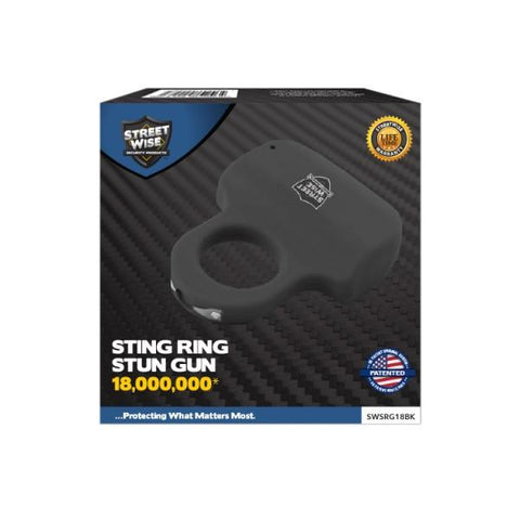 Streetwise™ Sting Ring Rechargeable Stun Gun Black 18M