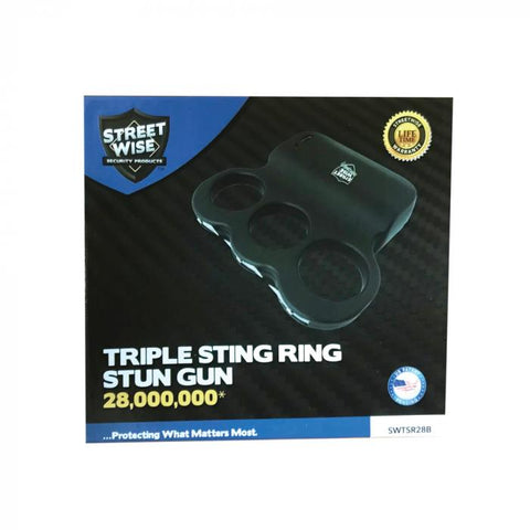Streetwise™ Triple Sting Ring Rechargeable Stun Gun Black 28M