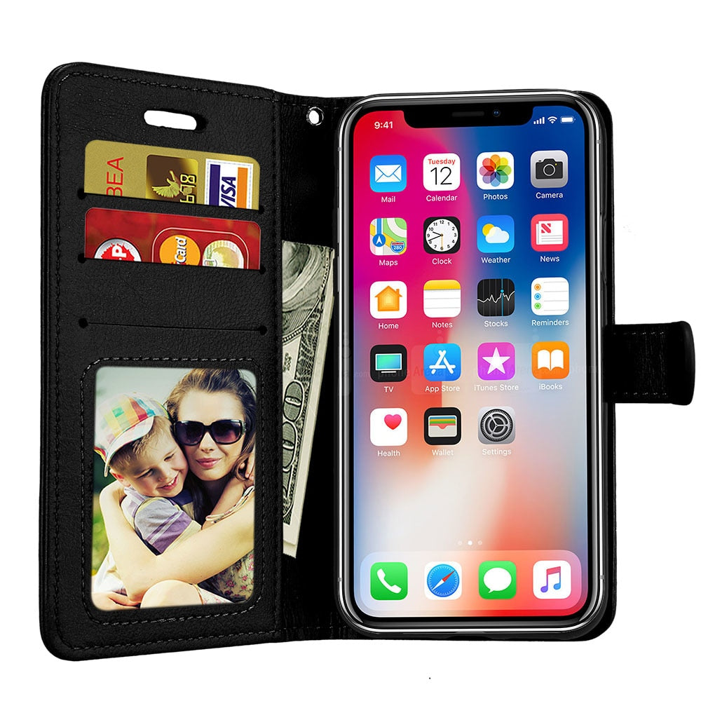 black iPhone X Case Leather Wallet Case