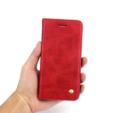 Red Retro Leather Phone Wallet Case For Samsung S8 PLUS