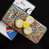 Yellow Colorful Cellphone Case With LED Light Finger Spinner Toy For Samsung S8