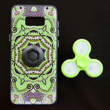Lime Green Colorful Cellphone Case With LED Light Finger Spinner Toy For Samsung S8