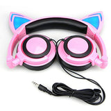 Pink Cat Headphones with LED lights