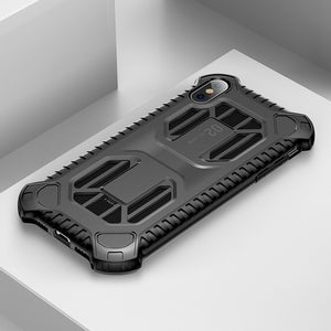 Black Military Armor Case For iPhone  Soft Silicone Hybrid