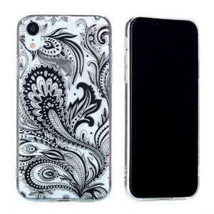 Shock Absorption Shatter-resistant Phone Case for Apple iPhone XR (Transparent, Pteris Pattern)