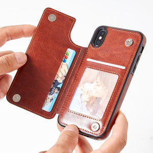 iPhone X - XS Case, Slim Fit Premium Leather Wallet Case