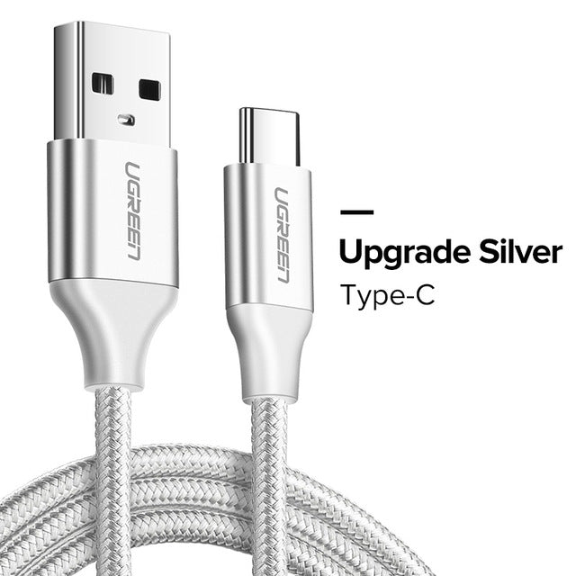 silver USB Type C Cable Fast Charging Data Cable