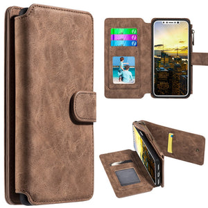 Leather Flip Wallet With Card Slot and Detachable Back Case for iPhone Xs
