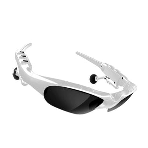 White Sun Glasses with Wireless Earphones Built in