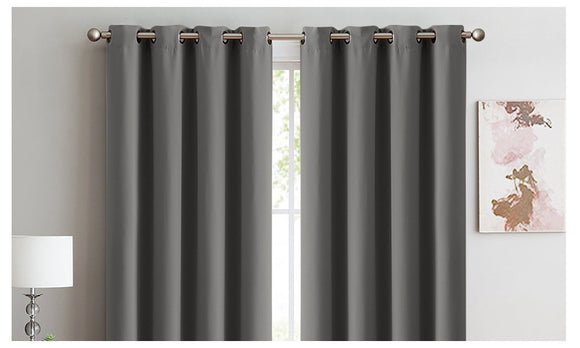 2X 100% BLOCKOUT CURTAINS PANELS 3 LAYERS EYELET 140X230CM Charcoal-Grey-Royal Blue - Shopit Store