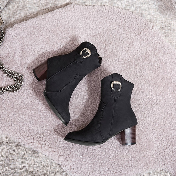 Classic Autumn Winter Ankle Boots PU Leather Metal Decoration Zipper High Heels Women's - Shopit Store