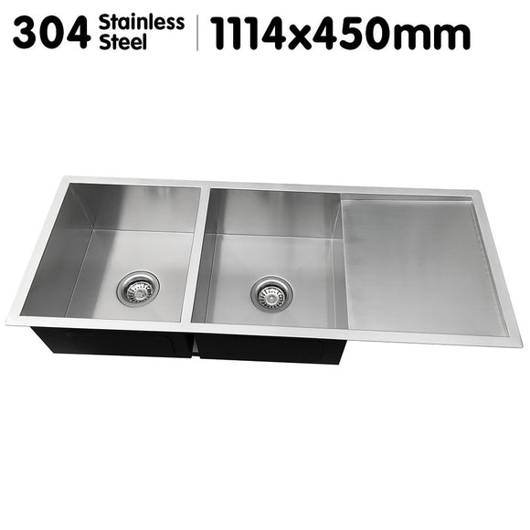 STAINLESS STEEL DOUBLE SINK & SIDE DRAINER - 1114 X 450MM - Shopit Store