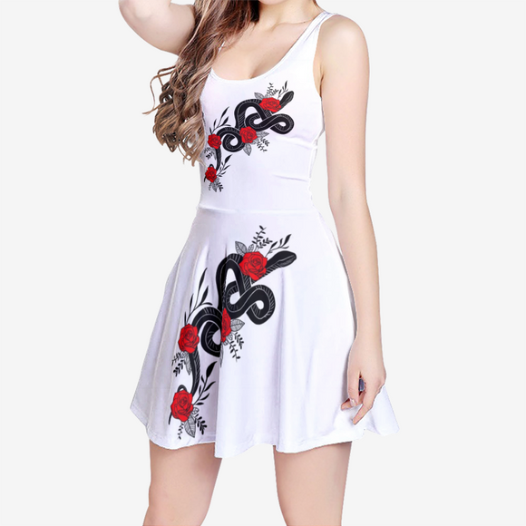 Rose Snake White Summer Sleeveless Midi Casual Flared Skater Dress-shopit store australia