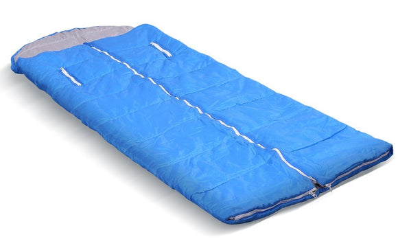 CAMPING HIKING ENVELOPE ZIPPERED SLEEPING BAG-ADULT SIZE-BLUE - Shopit Store