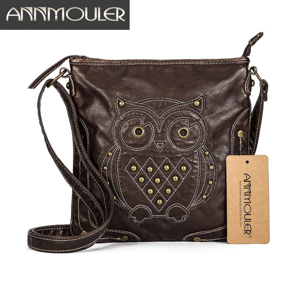 Owl Patchwork Studded Soft PU Leather Crossbody Shoulder Bag Handbag - Shopit Store