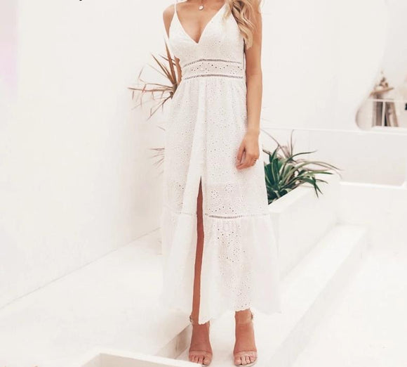 Gypsy white pearl front split deep V bra embroidered cotton ladies maxi beach party dress - Shopit Store