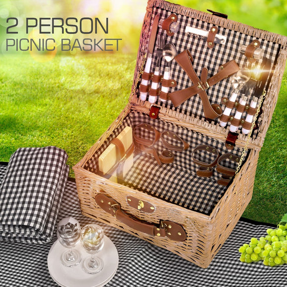 DELUXE 2 PERSON PICNIC BASKET INCLUDING ACCESSORIES & OUTDOOR BLANKET SET - Shopit Store