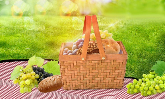 DELUXE WICKER OUTDOOR PICNIC BASKET OPEN TOP CARRY BASKET - Shopit Store