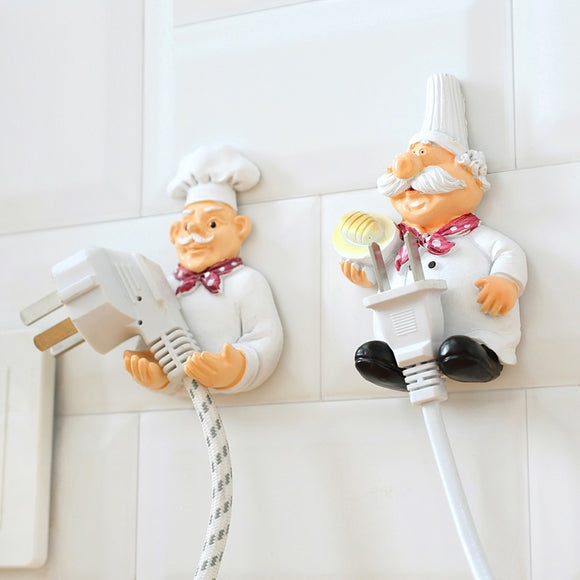 2pcs Cute Master Chef Ornamental Self Adhesive Wall Plug Holder Hook Kitchen Plug Hanger Set - Shopit Store