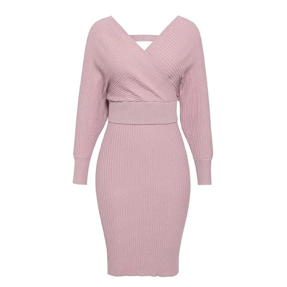 Shopit pink bodycon knitted two-piece dress suit midi skirt-batwing sleeve sweater-womens - Shopit Store