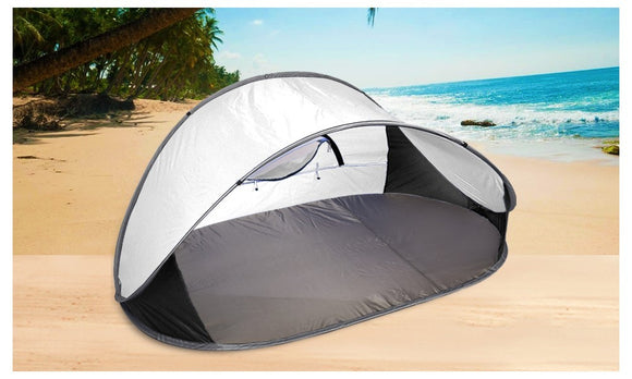 POP UP GREY CAMPING TENT BEACH PORTABLE HIKING SUN SHADE SHELTER-GREY-RED - Shopit Store