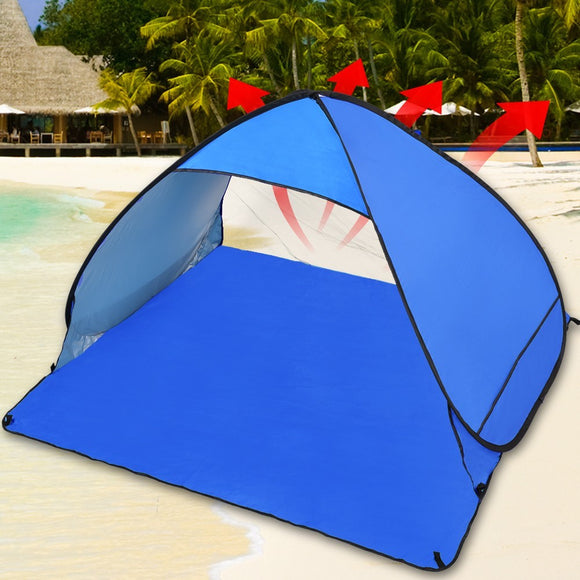 POP UP TENT PORTABLE BEACH CANOPY BLUE -GREEN -ORANGE-4 PERSON - Shopit Store