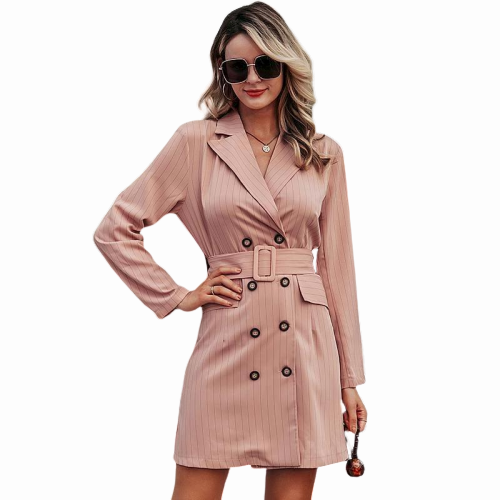 Elegant stripe sash belt dress blazer business office ladies double breasted short blazer dress - Shopit Store