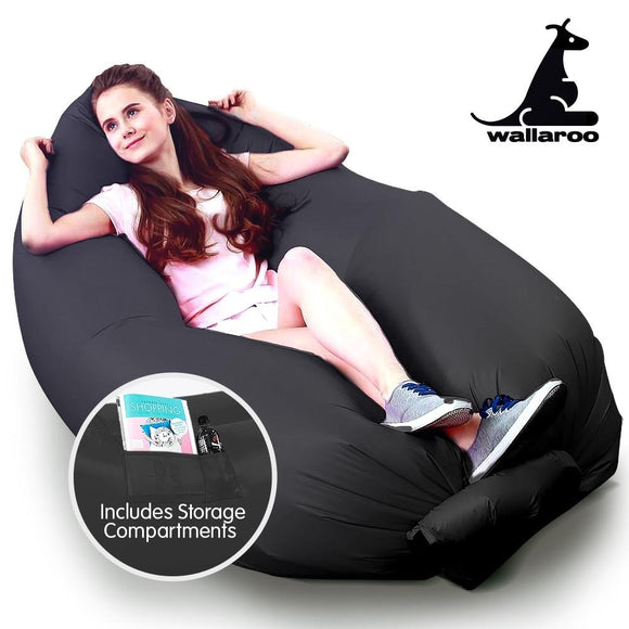 WALLAROO INFLATABLE AIR BED LOUNGE SOFA - BLACK-BLUE-GREEN-PURPLE - Shopit Store