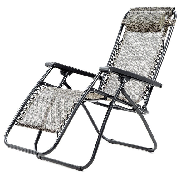 ZERO GRAVITY RECLINING DECK CAMPING CHAIR - BEIGE-GREY-BLACK - Shopit Store