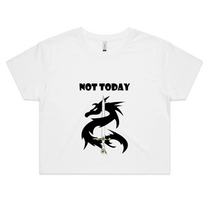 Womens Crop Top Tee Shirt-Dragon Sword Not Today Motif Front-Dragon Circle You Got This Back - Shopit Store