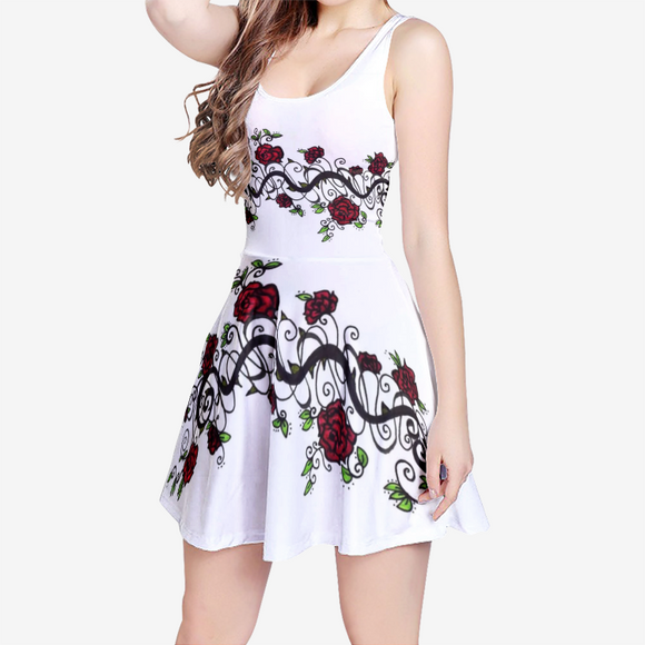 Rose Vine Women's Sleeveless Midi Casual Flared White Skater Dress