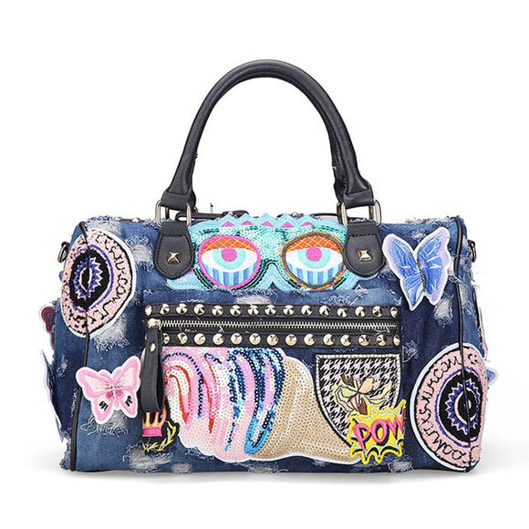 Denim Cartoon Motif Applique Embroidery Patchwork Colorful Handbag Tote Travel Bag - Shopit Store