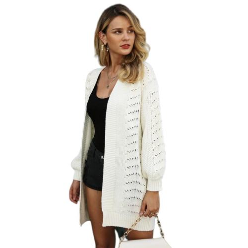 Womens seasonal knitted cardigan casual long white hollow out Ladies outerwear jacket coat - Shopit Store