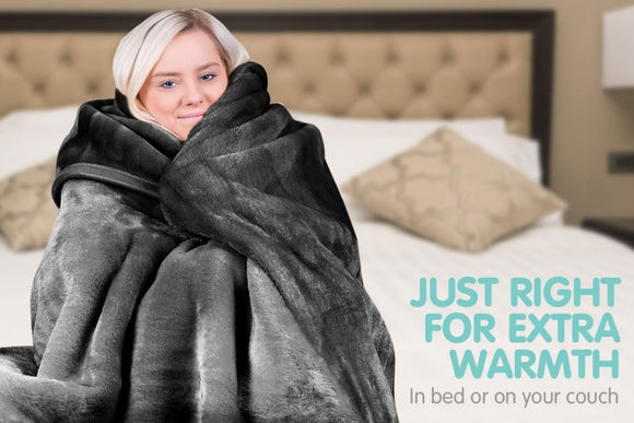 600GSM LARGE DOUBLE-SIDED QUEEN FAUX MINK BLANKET - Multiple Colors - Shopit Store
