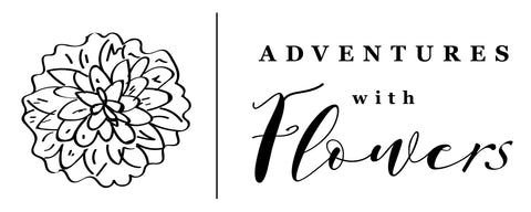 Adventures with Flowers logo featuring a black line drawing of a Dahlia flower