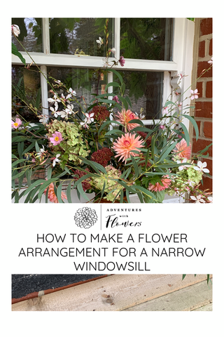 Image for Pinterest of flower arrangement on a narrow windowsill