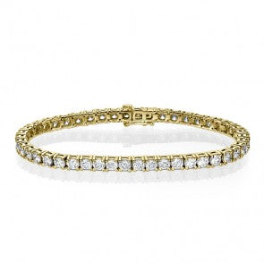 3 CTW Diamond 14KT Yellow Gold Tennis Bracelet