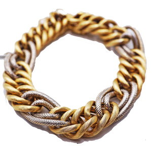 14 KT Yellow & White Gold Chain Link Bracelet