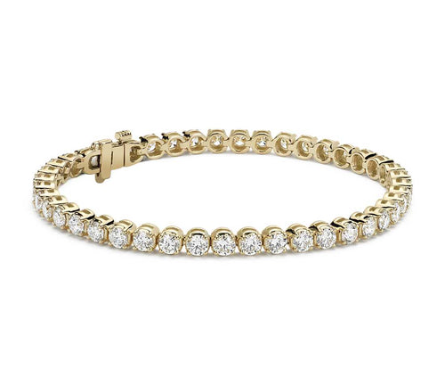 7 CTW Diamond 14KT Yellow Gold Tennis Bracelet