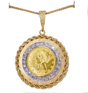 1901 American Coronet Head Gold Eagle Ten Dollar Collector Coin Pendant & Chain