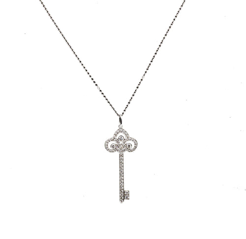Tiffany & Co. Fleur de Lis Key Pendant & Chain Platinum