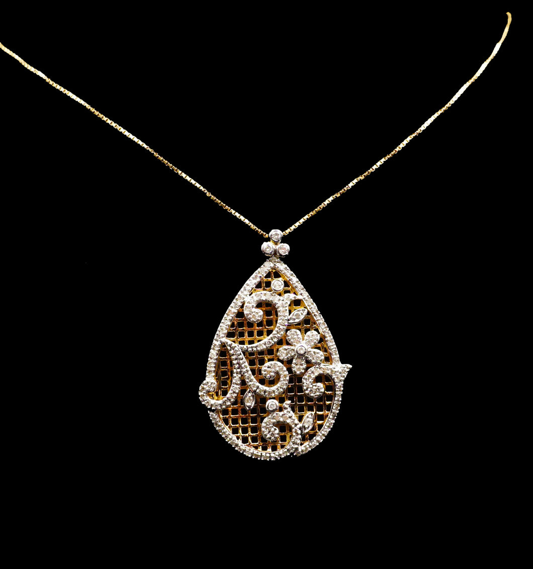 Floral Diamond Pendant & Chain