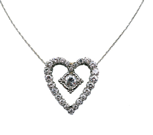 Diamond Heart 18 KT White Gold Pendant & Chain
