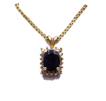 Load image into Gallery viewer, Sapphire Halo Diamond Pendant & Chain
