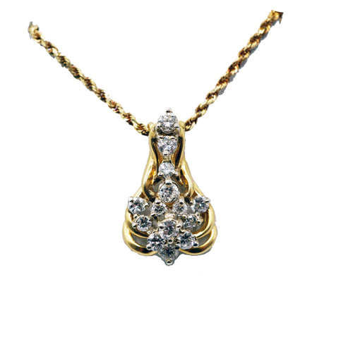 Vintage Diamond Cluster Pendant and Chain